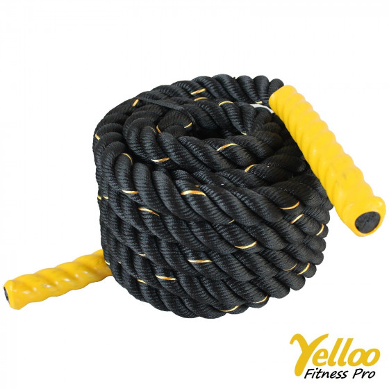 CORDA Fitness FUNE Allenamento CrossFit Battle Rope 9 metri x 38 mm GIALLA