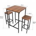 Set Tavolo Bar Quadrato Alto 110 cm e 4 Sgabelli Marrone Noce Mod. ROMA