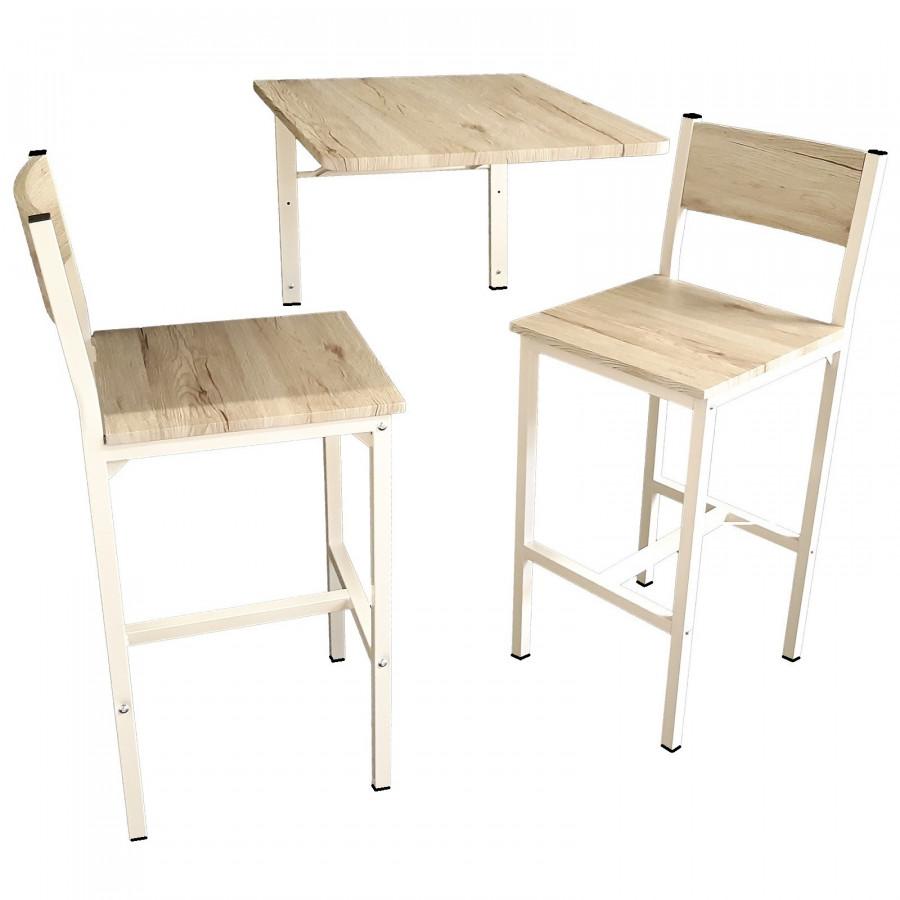 MOD. TRIESTE Set Tavolo Bar Pieghevole e 2 Sgabelli Beige Tavolo Enoteca a Parete Richiudibile salva spazio