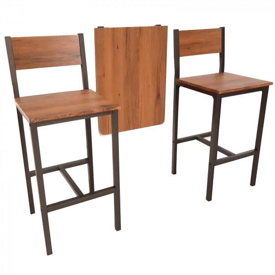 MOD. FRIULI Set Tavolo Bar Pieghevole e 2 Sgabelli Marrone Tavolo Enoteca a Parete Richiudibile salva spazio
