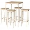 Set Tavolo Bar Quadrato Alto 110 cm e 4 Sgabelli Rovere Beige Mod. RIMINI