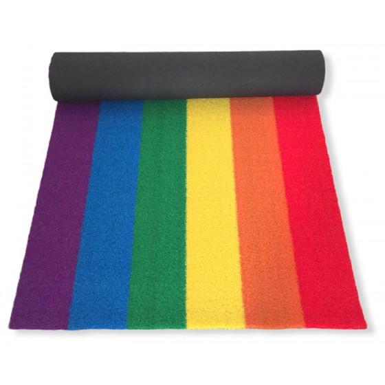 Prato Artificiale Multicolore Tappeto Zerbino Arcobaleno Sintetico 90x180 cm
